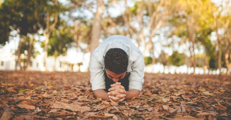 man praying in leaves