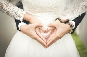 married hands heart image